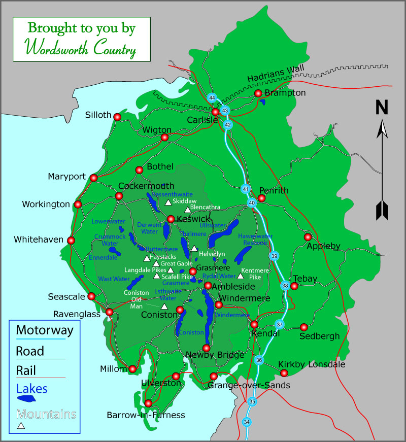 lake district in uk map Map Of Cumbria And The Lake District lake district in uk map